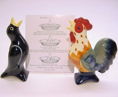 2 Pfaltzgraff Pie Bird Funnel/Vents – Blackbird & Colorful Rooster -- NEW