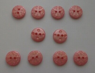 Peachey/Pink Buttons  ( Plastic ) Approx  1.5 cm x 10