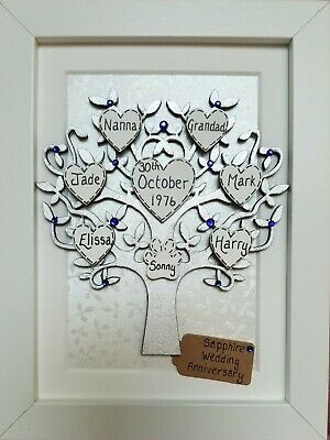 Personalised Family Tree Frame 45th Wedding Anniversary Gift Sapphire
