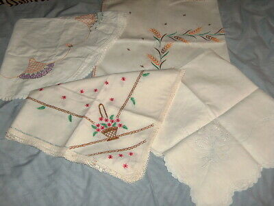 4 Vintage Embroidery Small Tablecloths w Flower Designs Minor Stains Cutters?