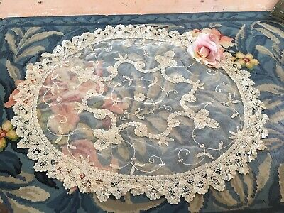 Wow!  Antique French Tambour Lace Doily Cotton Netting Needlework #A340