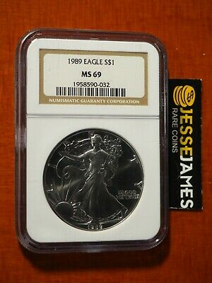 1989 $1 American Silver Eagle Ngc Ms69 Classic Brown Label
