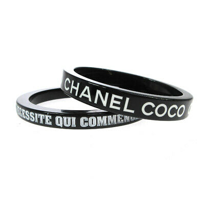CHANEL CC COCO Logos Double Bangle Plastic Black 07P France Accessories M14312
