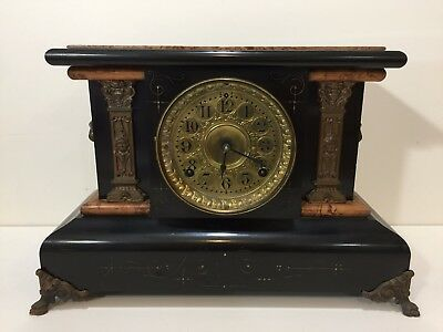 Rare Antique 1880 Seth Thomas Clock Co. Adamantine Mantle Clock with Key