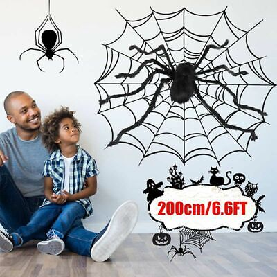 6.6FT/200CM Giant Halloween Decorations Spider Foldable Spider Hunted House Prop