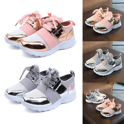 Girls Boys Kids Sports Sequin Shoes Running Trainers Shoes Toddler Infant Casual
