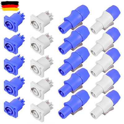 10 Paar PowerCON Typ A NAC3FCA + NAC3MPA-1 Chassis Gehäuse Stecker Panel Adapter