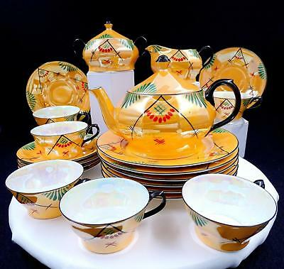 Schoenau Bros Germany 21 Piece Orange Deco Lusterware Teapot Luncheon Set 1900