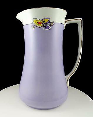 "Art Deco Porcelain Purple With Yellow & Orange Leaves Large 12.25"" Water Pitcher"