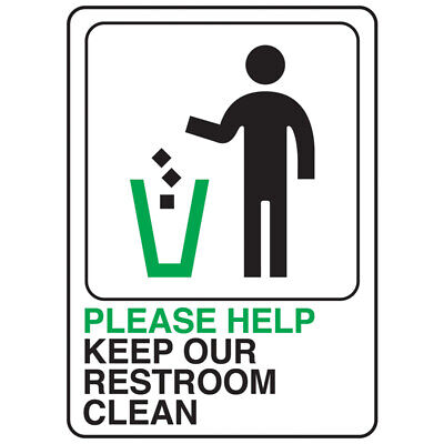 HY-KO English Please help keep our restroom area clean SIGNS Plastic 7 H x 5 W