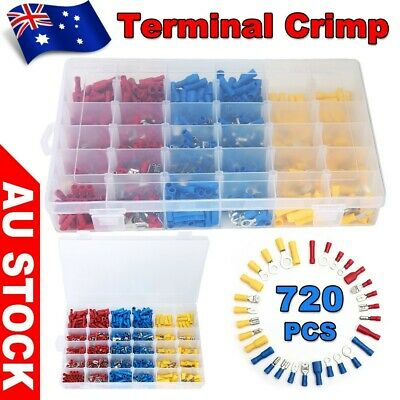 720Pcs Electrical Crimp Terminals Assorted Insulated Wire Connector Spade Kit AU