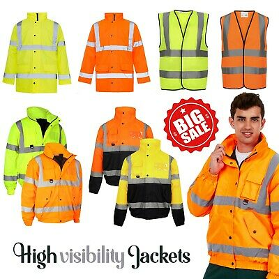 Hi Vis Visibility Finest Quality Bomber Jacket Hi Viz Waterproof Coat Lined Warm