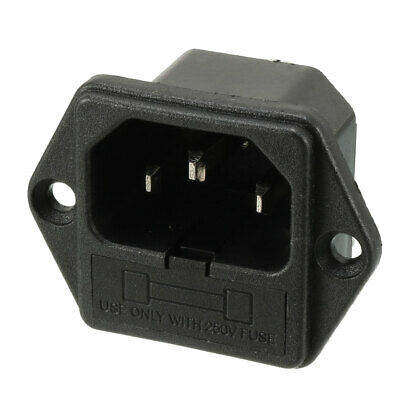 AC 250V 10A IEC320 C14 Male Power Cord Inlet Socket with Fuse Holder