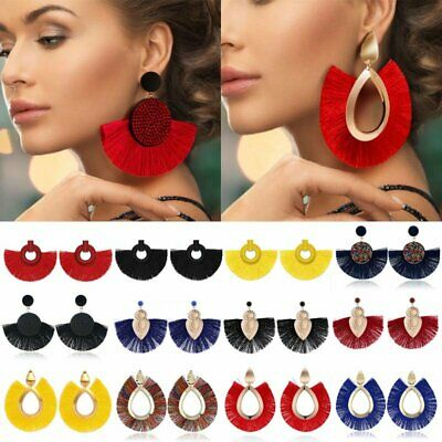 Bohemian Large Tassel Earrings Women Handmade Fringe Ear Stud Statement Jewelry