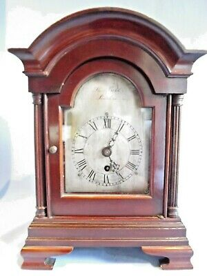 "19c Single Fusee Mahogany Bracket Clock ""T. Cobb Scarborough""."