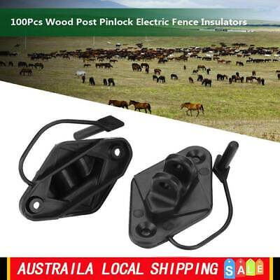 100X  Electric Fence Timber Wood Post Insulators Screw In Pinlock Electric Fence