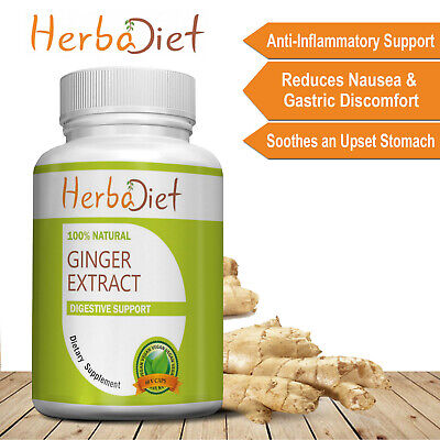 Ginger Root Extract 500mg Pills 180 Veg Capsules Digestive Inflammation Support