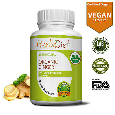 Organic Ginger Root 240 Capsules Pills Digestion Indigestion Nausea Support