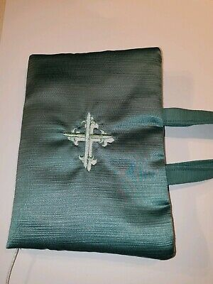 Bible Cover, Book  Bag, with embroidered cross to front, beaded marker