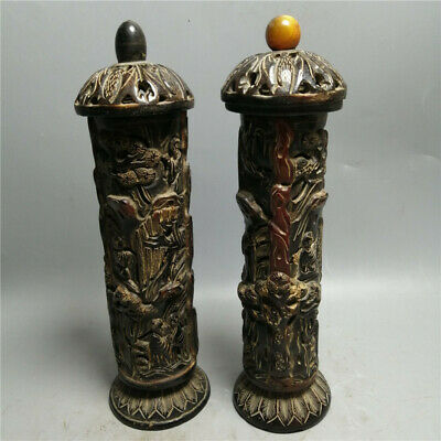 """9.25"""" China Exquisite Ox horn carved pine tree old man Incense Tube box A pair"""