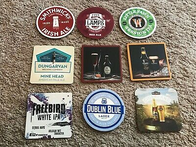 Lot of 18 Craft Micro Brewery Beer Coasters - 9 From Ireland, 9 Mostly NY - New
