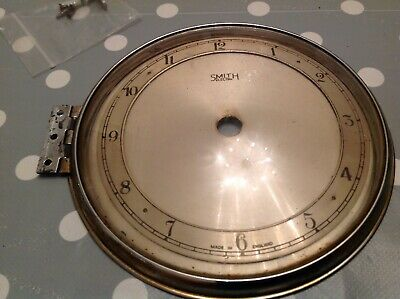 Antique Smiths Clock Case Door Chrome Good Hinge Convex Glass Spare Part 124mm
