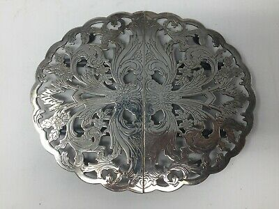 Vintage Silver Plate Lunt Footed Expandable Trivet M-20