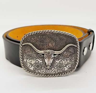 Longhorn Western Belt & Buckle USA Cowboy Rodeo Bull Head Ox Texas Biker  chrome