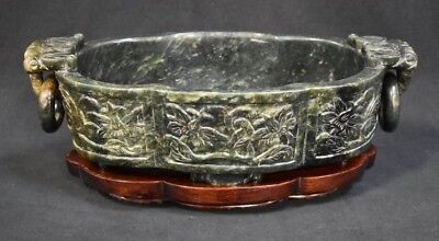 Carved  Chinese Spinach Jade Center Bowl on Rosewood Stand
