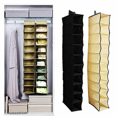 10 Sections Closet Wardrobe Shoes Clothes Organizer Hanging Storages Rack Shelf