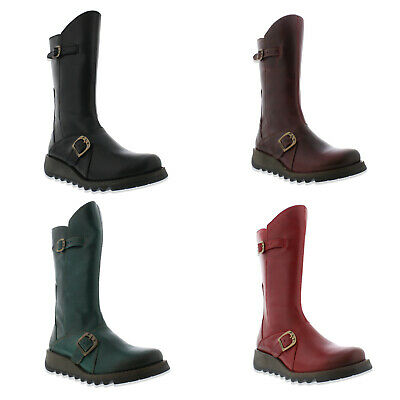 Fly London Mes 2 Womens Ladies Mid Calf Wedge Zip Up Leather Boots
