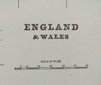 """ENGLAND WALES 1903 Vintage Atlas Map 11""""x14"""" ~ Old Antique LONDON CARDIFF"""