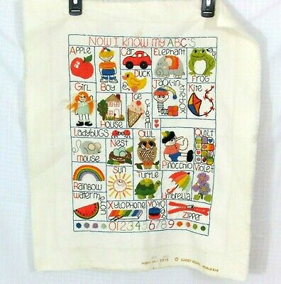 """Vintage """"Now I Know My ABC'S"""" Hand Embroidered Alphabet Sampler 1979 22.5 x 19.5"""