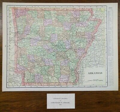 "Vintage 1901 ARKANSAS Atlas Map 14""x11"" ~ Old Antique JONESBORO SPRINGDALE"