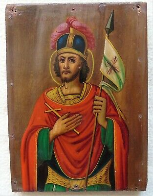 Antique Russian icon of St. John the Warrior . 19th C. Reasonable bargaining!