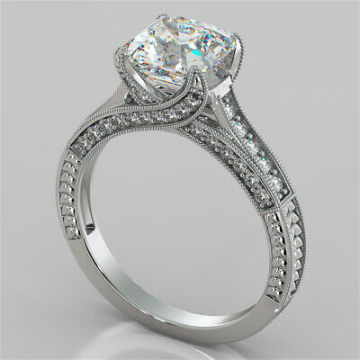 2.50Ct Asscher Cut Vintage-Style Engagement Ring in 14K White Gold Size 7