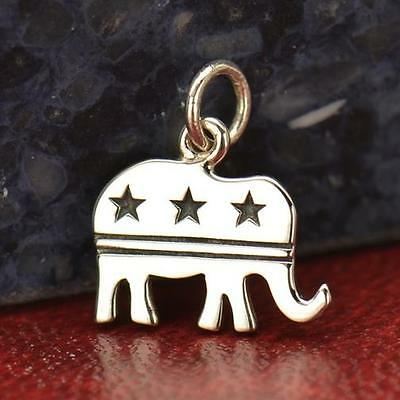 925 Sterling Silver Republican Elephant Necklace Political Trump Jewelry NEW
