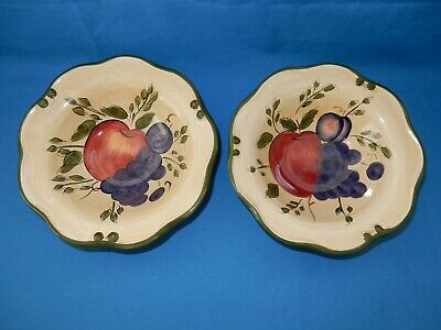"2 Home Trends Fruit Soup Cereal Bowls Granada 8"" Apple Grapes Plum"