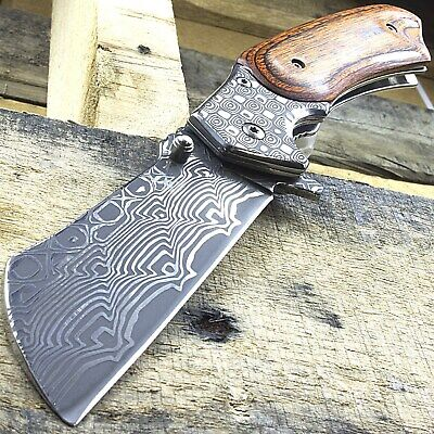 "7"" Damascus Style Spring Assisted Cleaver Stainless Steel Folding Pocket Knife"