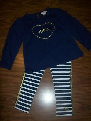 Little Girls JUICY COUTURE Outfit Shirt Pants Sz 4  New NWT MSRP $70 NAVY & GOLD