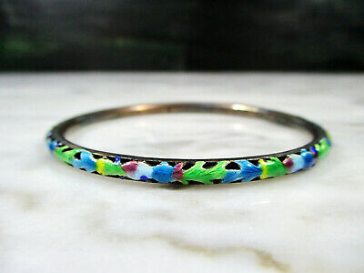 Old Antique Chinese Pierced Sterling Silver Enameled Bangle Bracelet Marked