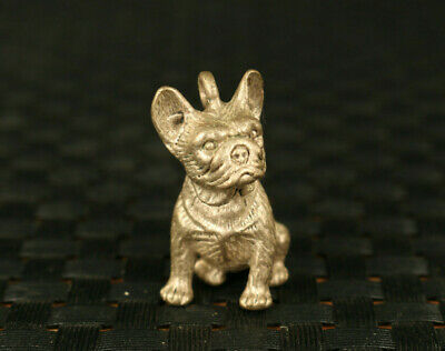 rare old copper silver hand casting dog statue pendant netsuke table decoration