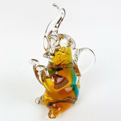 V Nason Murano Italy Glass Elephant Gold and Green Figurine Paperweight No Flaws