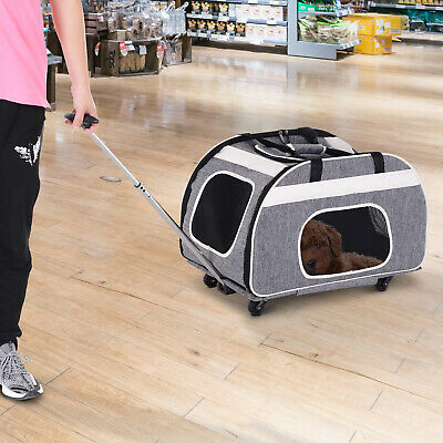 Pet Travel Carrier Portable 3 Carrying Way w/ Handle Shoulder Strap 4 Wheels