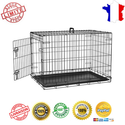 Cage Metal Transport 91cm Porte Pliante Rangement Facile Chien Chat Dressage FR