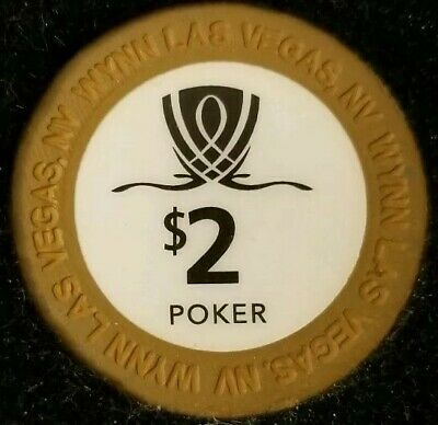 $2 Casino Wynn Chip Poker Room Las Vegas, Nevada NV Gaming Hotel Drop Brown