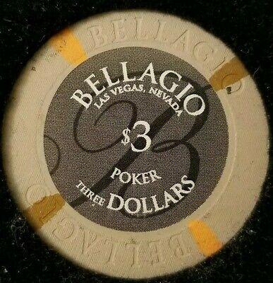 $3 Casino Bellagio Chip Poker Room Las Vegas, Nevada NV Gaming Hotel Drop