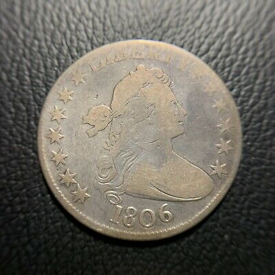 1806 Draped Bust Half Dollar F Fine Early Rare Type Silver Coin 50c Flowing Hair