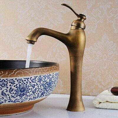 Antique Brass Hot&Cold Water Single Hole Faucet Bathroom Vanity Basin Mixer Tap
