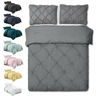 1000TC Diamond Quilt Doona Duvet Cover Set Single Queen King All Size Bed Simple